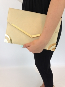 Beige and Gold Tone Clutch Bag  1011