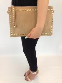 Tan and Gold Studded Evening Bag FB1009