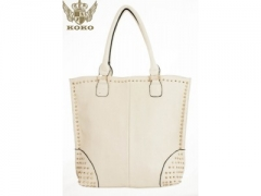 Cream and Gold Studded Shopping Bag W-001